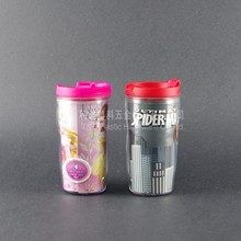 promotional item/double wall tumbler/custom logo colorful advertising printed plastic cup