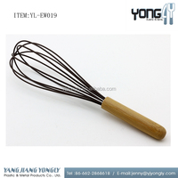 Stainless steel silicone egg whisk with bamboo handle