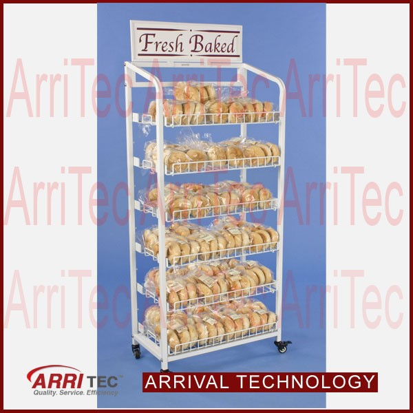 free standing 6 lelvels metal bread display ad header bakery display stand rack