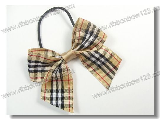 Pre-made elastic cord in ribbon satin bow tie