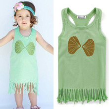 Hot sale tassels girl child dress summer sleeveless girl child dress for toddle girl dress cotton material