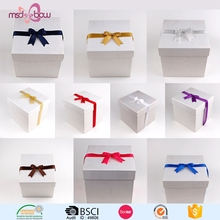 Christmas gift wrapping colorful satin ribbon bow with elastic loop