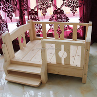 Different styles bottom price solid wooden raised dog bed wooden dogs house kennel designs