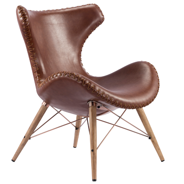 Retro genuine leather chair with solid wood leg alibaba china fsohan