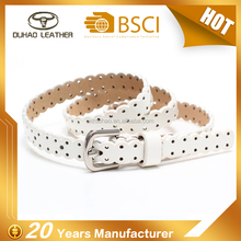 Wholesale ladies hollow out slim pu leather belt for dress