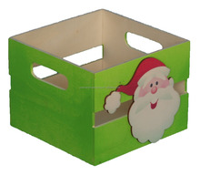 Popular cheap Santa Claus decorative wooden fruit crates