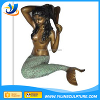 Bronze nude mermaid statues/outdoor Life Size Bronze Mermaid fountain