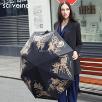 SAIVEINA 2015 high quality auto open and close sun protection umbrella / heat transfer umbrella printing paris by night