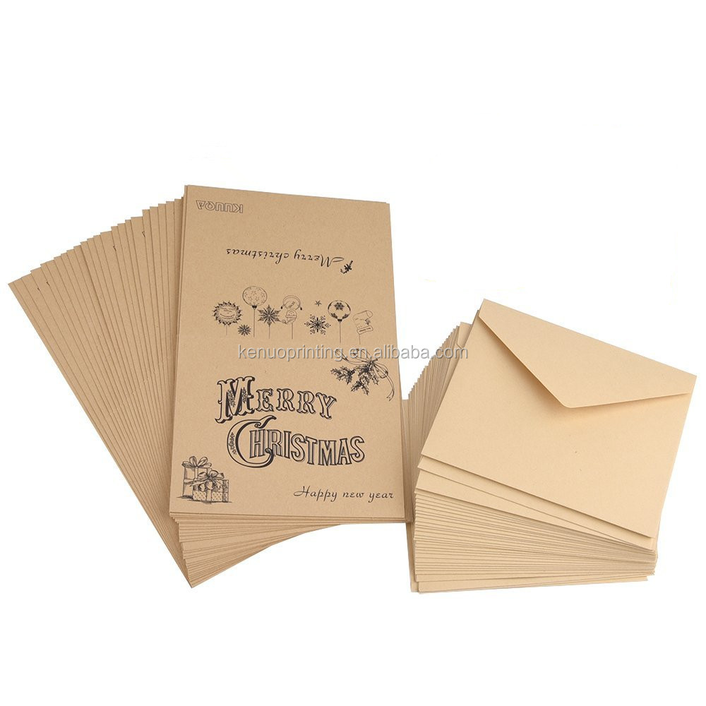 custom printed merry christmas card with envelope pack