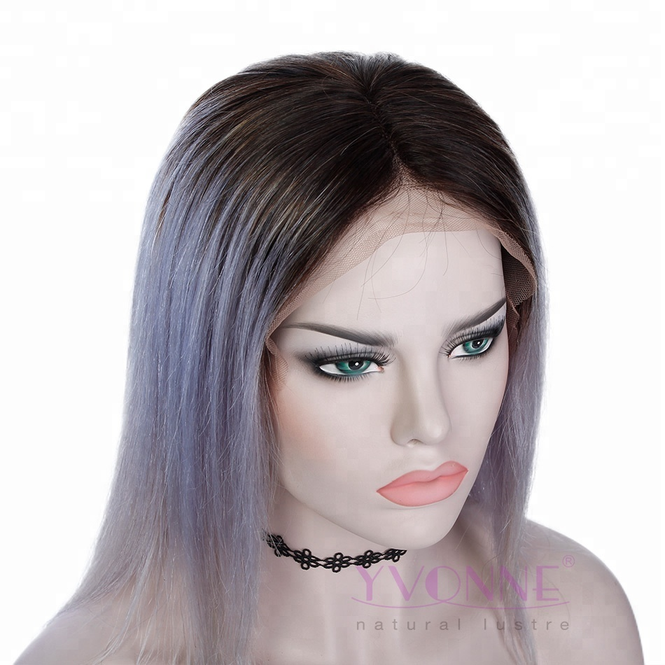 Short Bob Hairstyles Ombre Full Lace Grey Human Hair Wigs Buy Grey