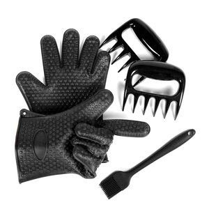 Silicone BBQ Gloves ,Oven Mitts, Meat Shredder Bear Claws and Basting Brush