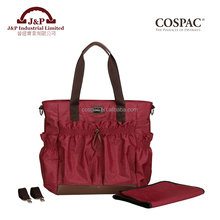 Trade Assurance Easy Carry PU Leather with Polyester Love Baby Diaper Changing Bag