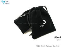 Customized Logo BLACK Velvet pouch / velvet jewelry pouch / Jewellery velvet bag