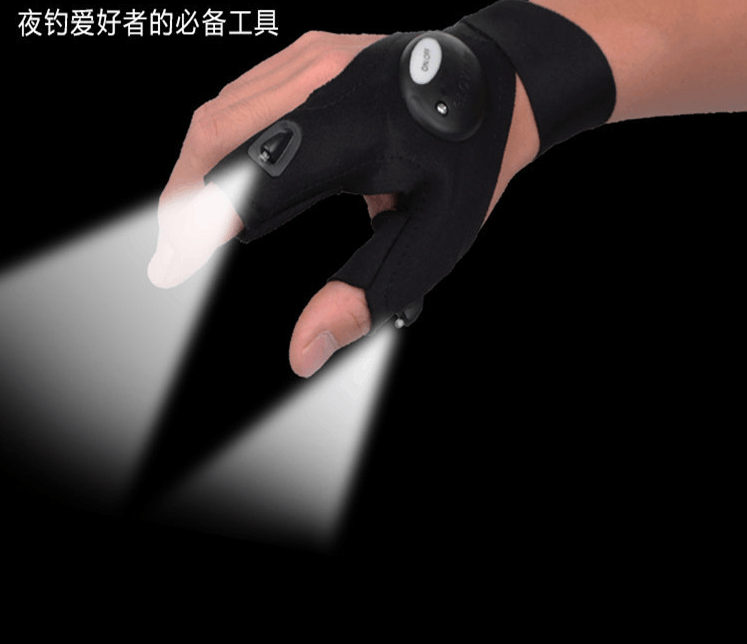 Fingerless Fishing LED lights gloves outdoor repair cars night riding Gloves