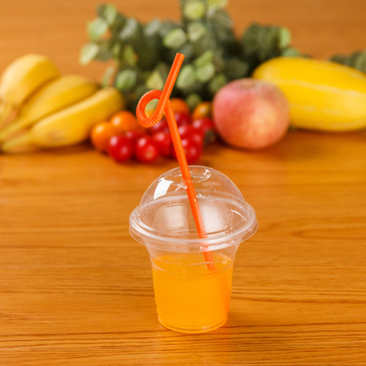 High Quality Durable Using Disposable 250ML Plastic Cup With Lid And Straw Wholesale