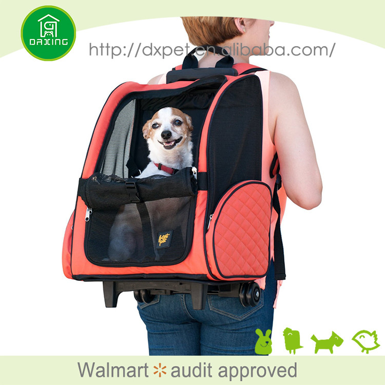 Portable durable airline approved rolling backpack pet carrier