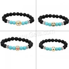 lava volcano stone Bead Bracelet Synthetic turquoise native howlite & Zinc Alloy zinc alloy lobster shrimp clasp 1189177