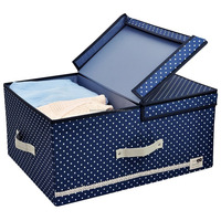 Foldable High Polyester Storage box Drawer Clothes Closet Organizer with Lid and Removable Divider, 60 L, Blue Dot