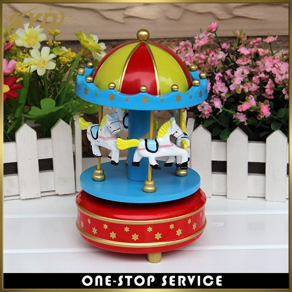Colorful wooden carousel music box best selling wind up music box