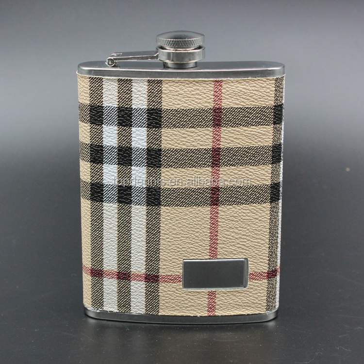 8oz leather covered stainless steel mini type hip flask