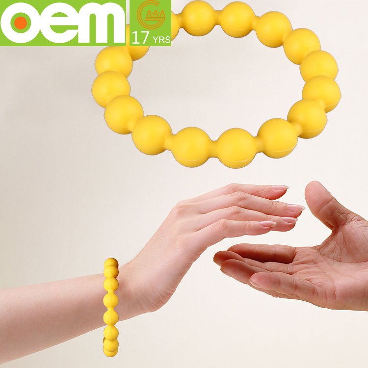 fashion food grade soft silicone bead bracelet