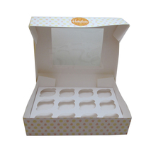 1-24 holes custom cupcake box without clear PVC window