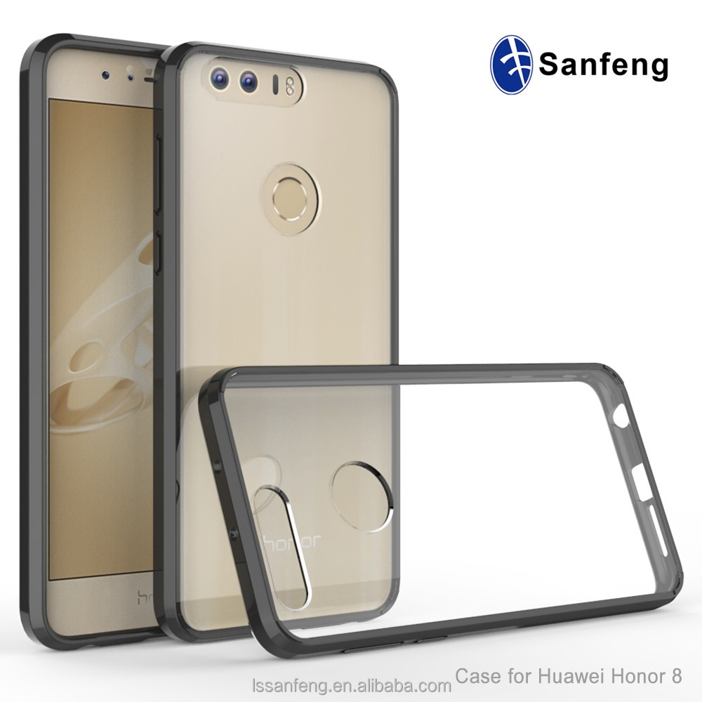Crashproof transparent tpu acrylic hybrid phone case for Huawei Honor 8