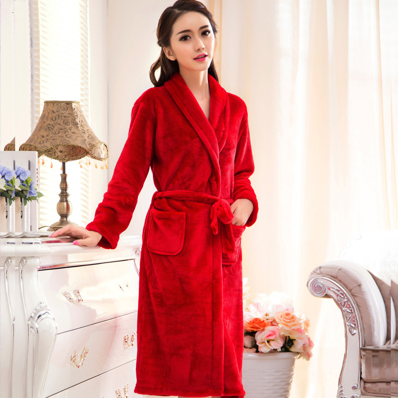 Flannel velvet fleece dressing gown womens