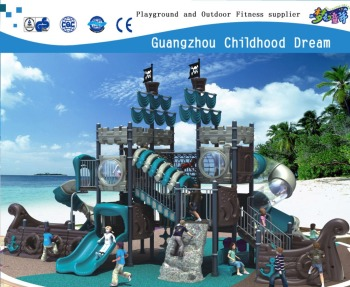 (CHD-1025) Marine adventure ship theme children playground equipment, theme park games for sale, large outdoor slide