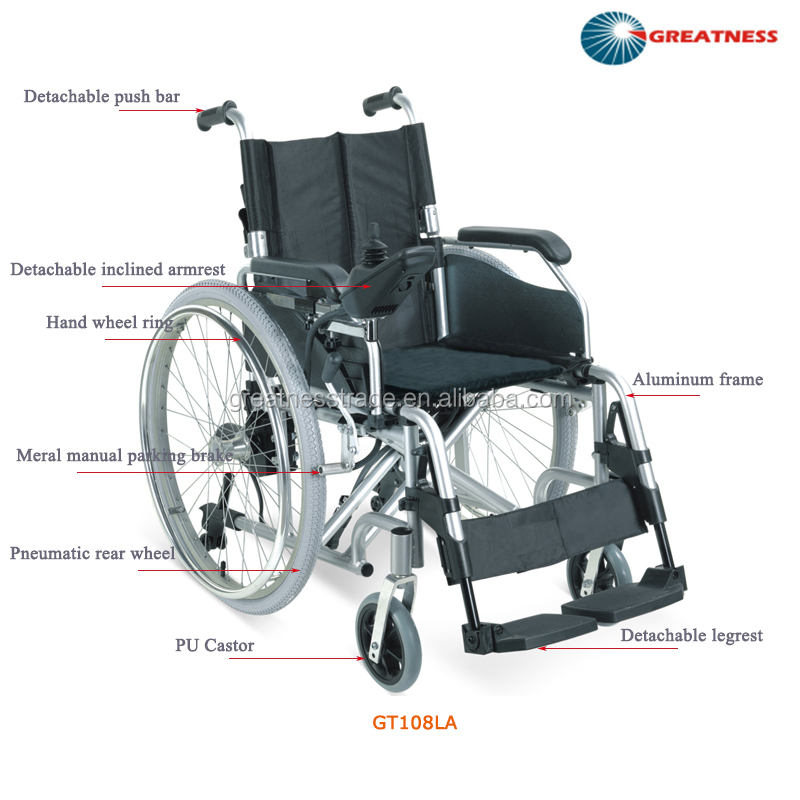 Brand new Greatness Model GT108LA floding type aluminum electric wheelchair for sale In Foshan
