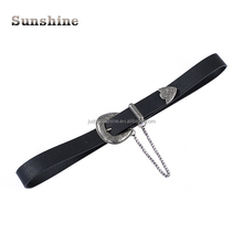 Wholesale hot sell fashion black pu leather decorative belt for lady
