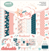 2017 Hot selling lovely pink star baby girl pattern paper for scrapbooking