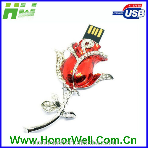2gb Jewelry flower usb flash drive red violet blue color