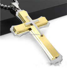 Gold Silver Stainless Steel Cross Pendant Necklace Collares