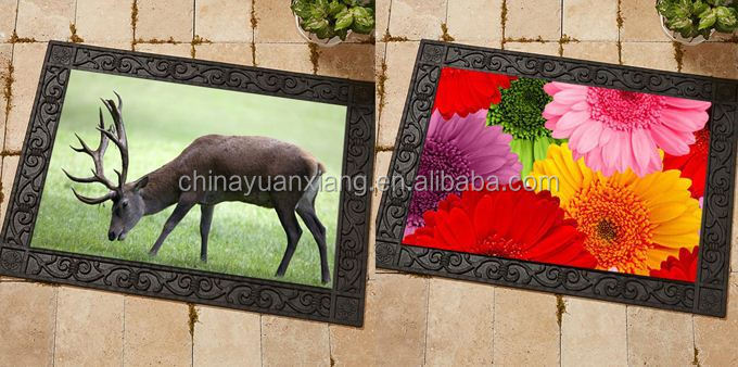 Decorative Rubber Doormat Tray With Display Printed Door
