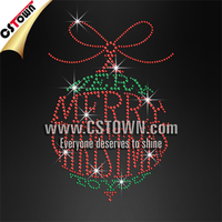 A very merry Christmas bling ornament hot fix crystal rhinestone motif