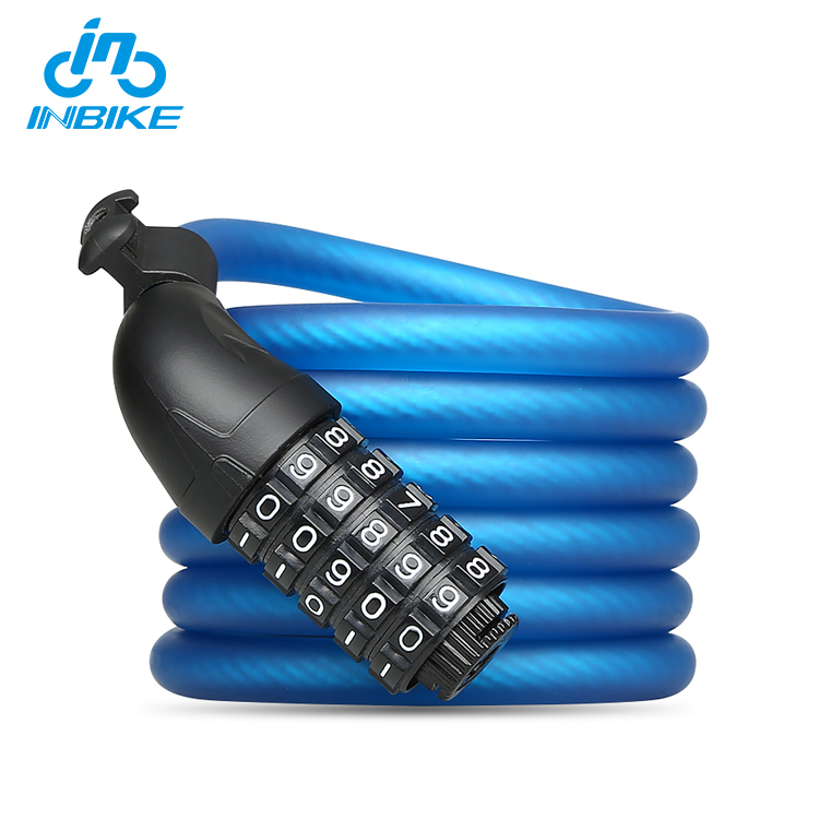 INBIKE Durable High Safety 5 Digit Combination Motorcycle Cable Bicycle Lock