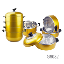 Gold Color Energy Saving Multi Layers 30cm Restaurant Stainless Steel Food Steamer Pot