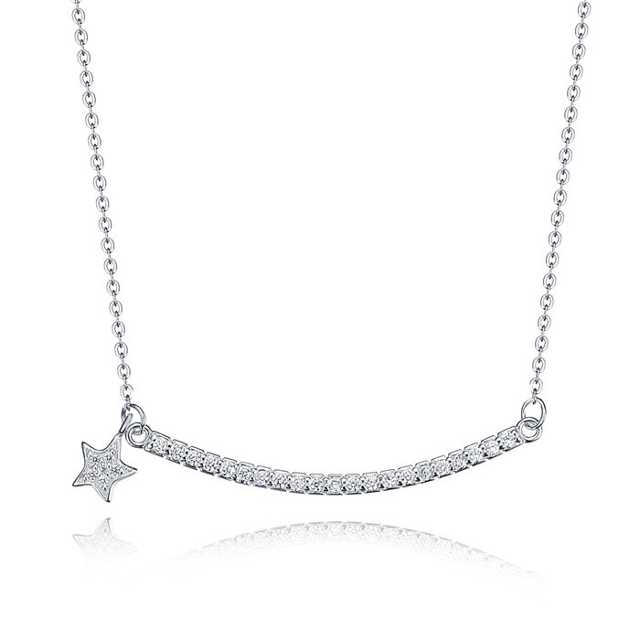 Group curving bar with five pointed star pendant necklace rhodium plated necklace