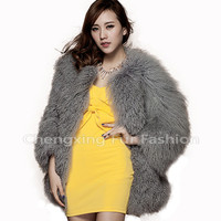 CX-G-A-111D 2016 Mongolian Lamb Fur Coat Rabbit Fur Winter Coat For Women