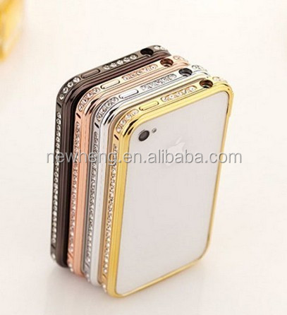 Hot fashion Bling shining single row crystal aluminum diamond metal hard bumper frame case for apple iPhone 5c
