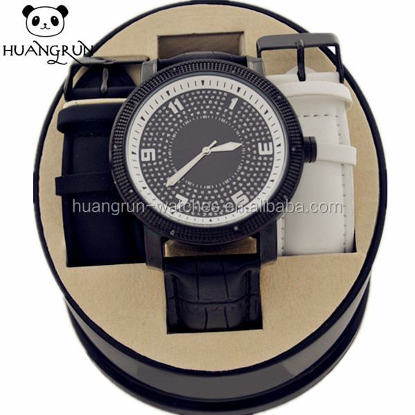 Leather wrist women face large number watches
