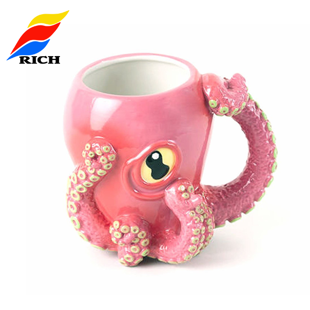 Handmade Pink Cute Gift Octopus Shape Custom Ceramic Coffee Mug <strong>Cup</strong>