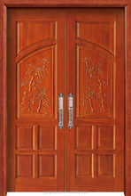 Main entry double solid wood carving design door YHA-1108
