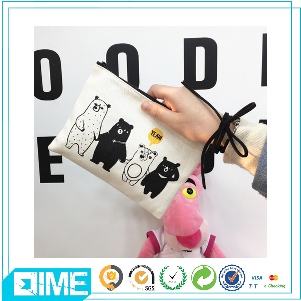Custom Logo Printed Wholesale Cheap Canvas Cosmetic Bag