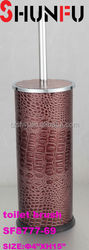 Faux leather PVC plastic waste bin and toilet brush set