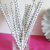 New Pattern Dark Blue small polka dots decorative paper drinking straws
