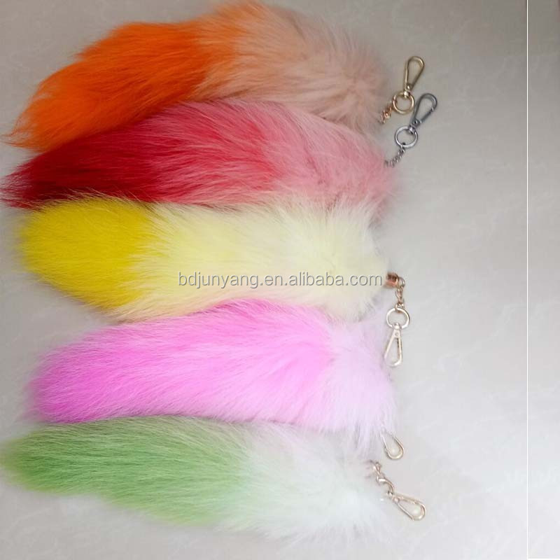 Colorful real fox tail bag charm fur pom keychain furry tail