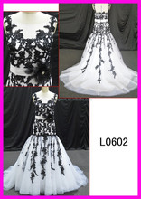 L0602 black lace mermaid cap sleeves wedding gown
