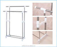 Double pole indoor clothes hanger,Stainless steel indoor hanging clothes dryer rack,Free standing clothes hangers